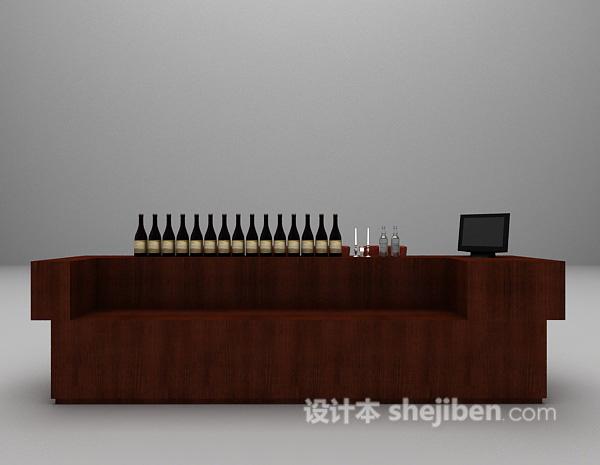 皮质吧台椅3d模型下载
