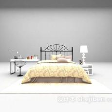 铁艺床书桌组合3d模型下载