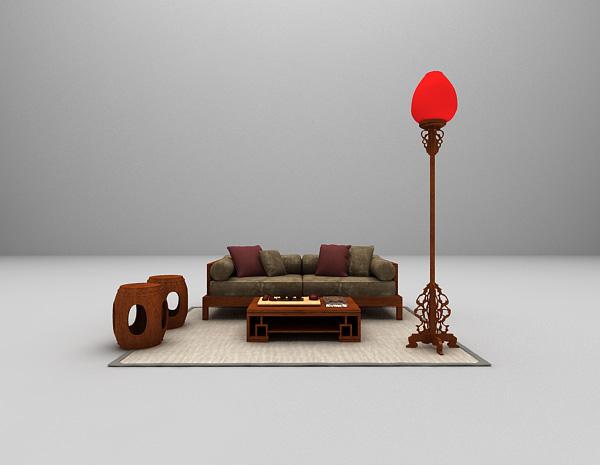 中式组合沙发3d模型