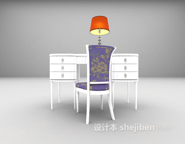 现代白色书桌3d模型下载
