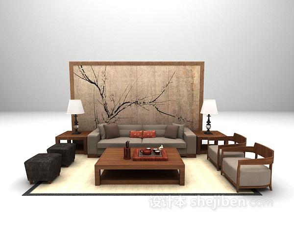新中式组合沙发模型下载