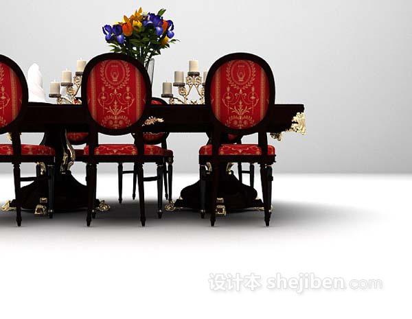 欧式风格餐桌3d模型下载