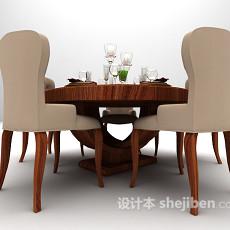 五人小圆桌3d模型下载