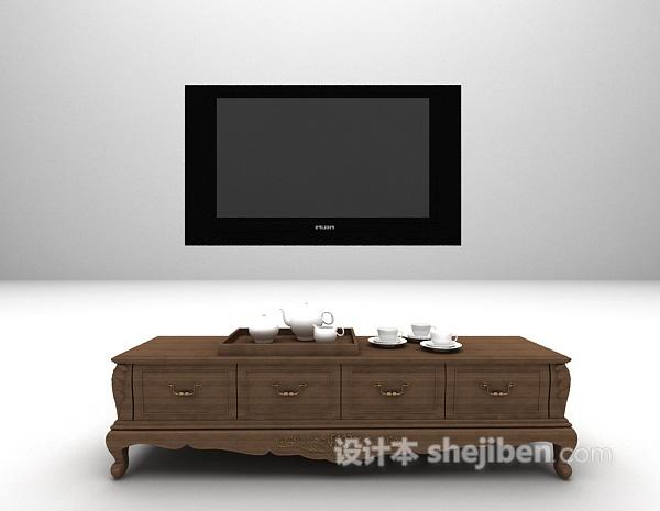 欧式复古电视柜3d模型下载