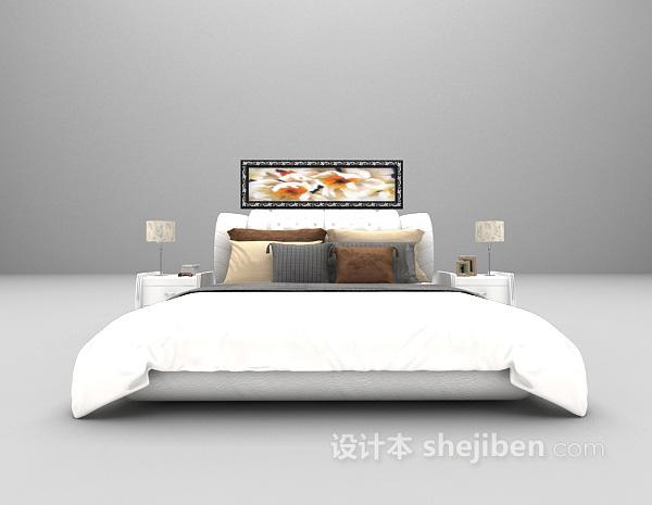 现代白色床3d模型下载