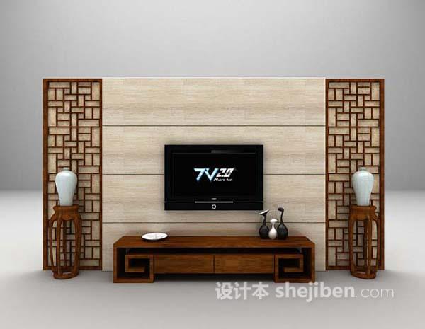中式棕色电视墙3d模型下载