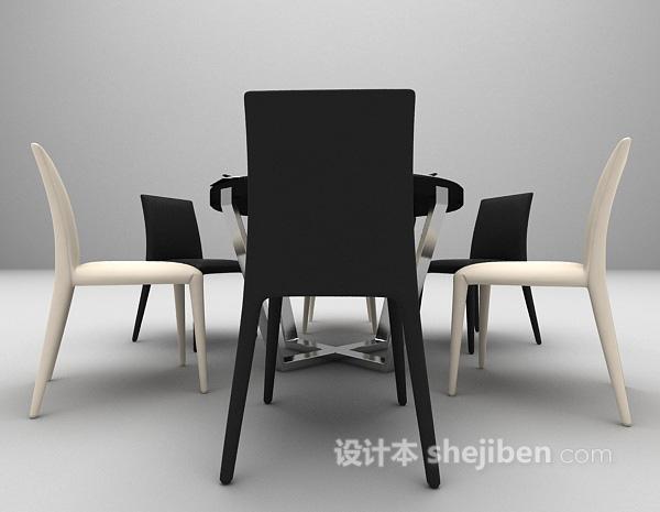 简易风格餐桌3d模型下载