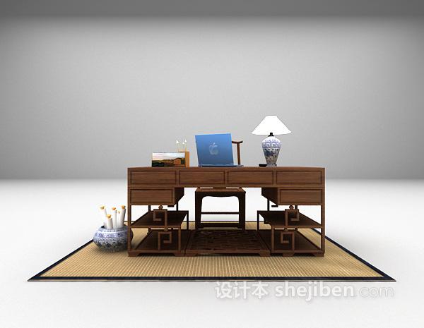 中式风格书桌3d模型下载