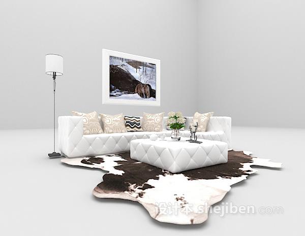 现代白色沙发3d模型下载