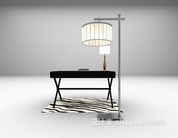 黑色现代书桌3d模型下载