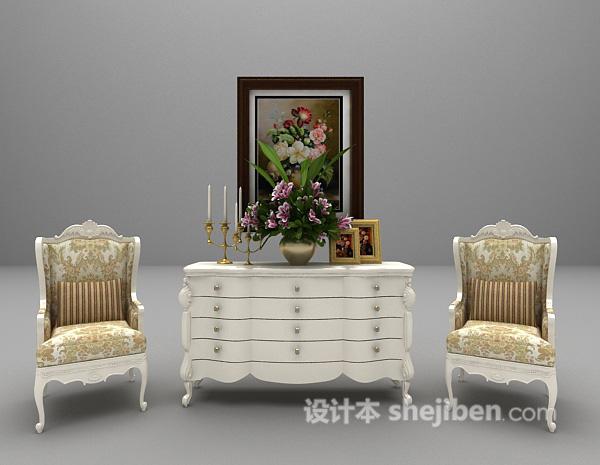 欧式白色玄关厅柜3d模型免费下载
