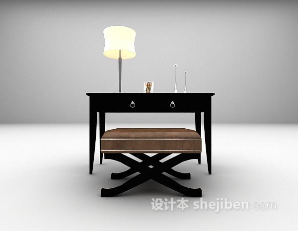 黑色欧式书桌3d模型下载