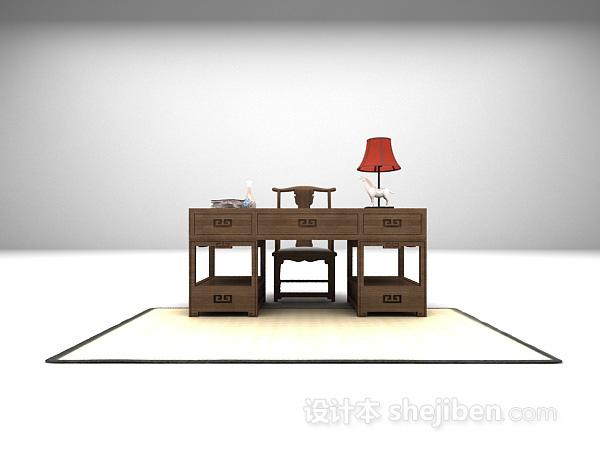 中式书桌3dmax模型免费下载