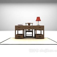 中式书桌max免费3d模型下载