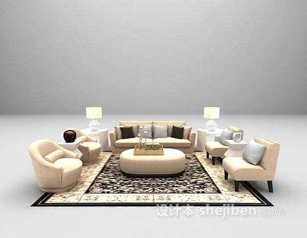 简欧风格组合沙发3d模型下载