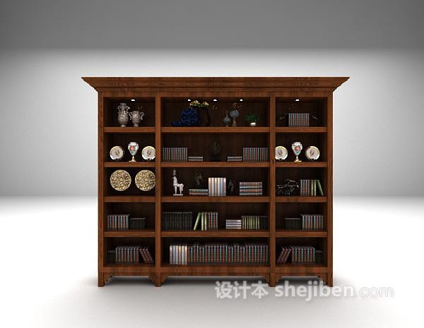 欧式实木书柜3d模型下载