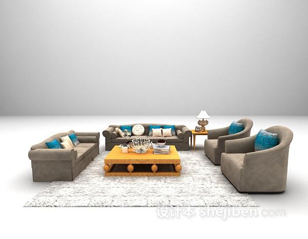 欧式客厅沙发3d模型下载