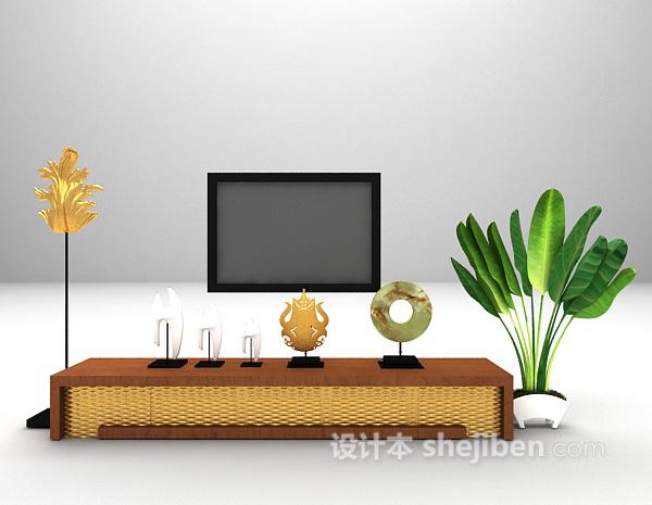 家庭电视柜3d模型下载