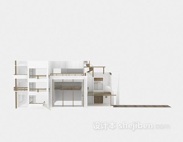 现代白色别墅3d模型下载