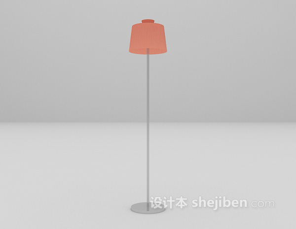 红色灯罩落地灯3d模型