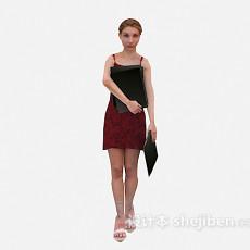 抱文件女人max人物3d模型下载