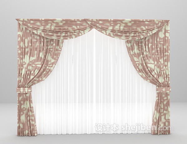 小碎花窗帘3d模型下载