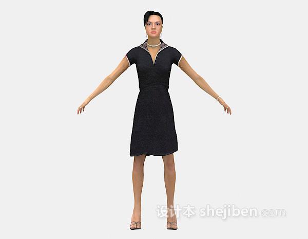长裙女士3d模型下载