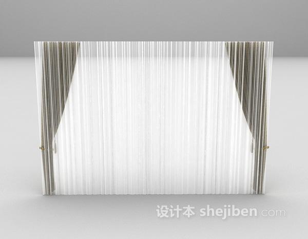 现代宽窗帘3d模型下载