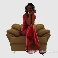 红衣美女3d模型下载