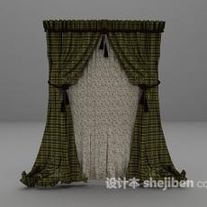 绿色格子窗帘3d模型下载