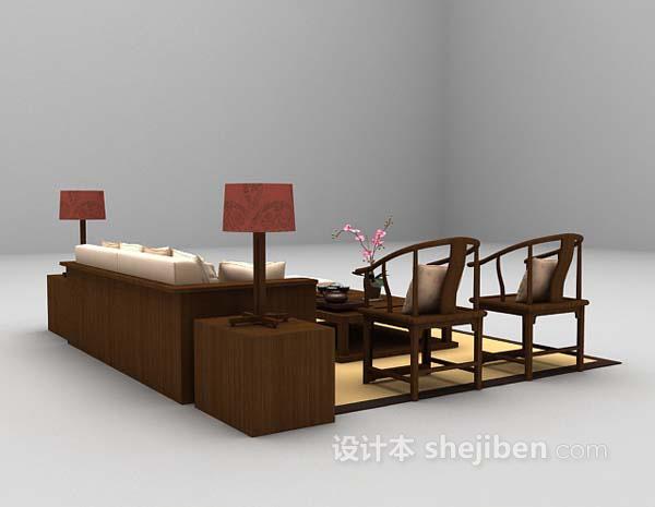 中式多人沙发3d模型下载