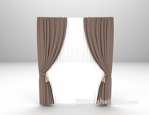 灰色简约窗帘3d模型下载