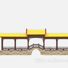 古建长廊3d模型下载