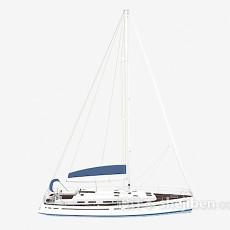蓝白帆船3d模型下载
