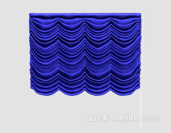 蓝色褶帘3d模型下载