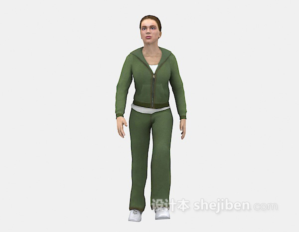 运动女士3d模型下载