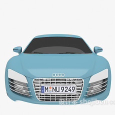 蓝色奥迪汽车3d模型下载