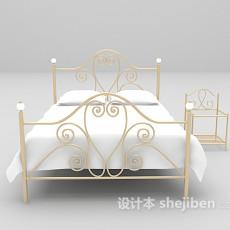 白色铁艺床max床3d模型下载
