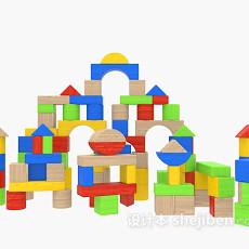 积木玩具3d模型下载