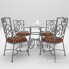 铁艺户外桌椅组合3d模型下载