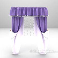 欧式紫色窗帘3d模型下载