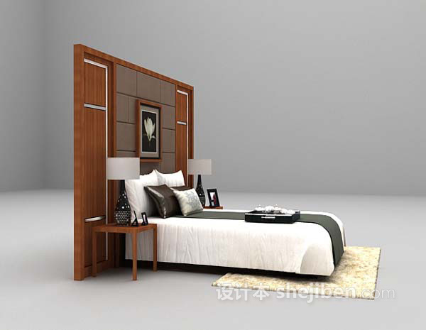 简洁风格床具3d模型下载