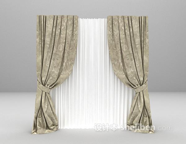 现代风格窗帘3d模型下载