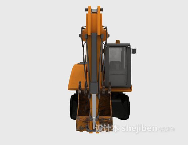挖掘机模型黄色3d模型下载