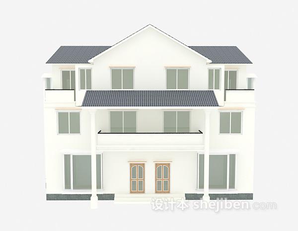 欧式白色别墅模型下载