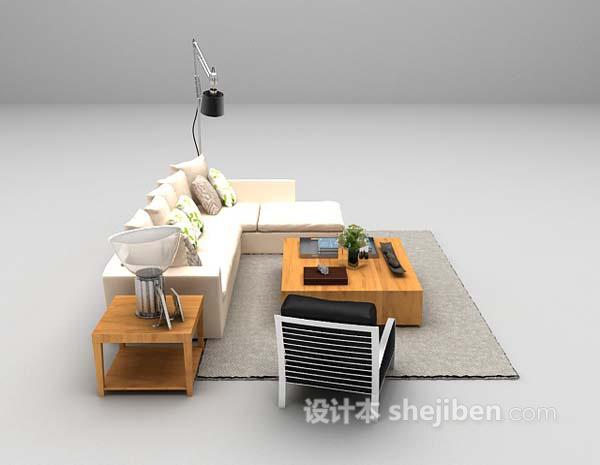 白色皮质沙发组合3d模型下载