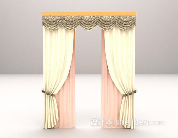 灰色欧式古典窗帘3d模型下载
