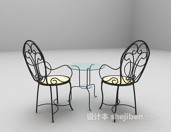 金属桌椅组合3d模型下载