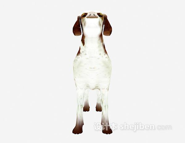 白色狗动物模型 3d下载