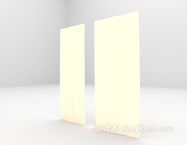浅黄色落地窗帘3d模型下载